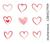 hand drawn hearts. design... | Shutterstock .eps vector #1384527959