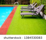 sunbeds on green grass and grab ... | Shutterstock . vector #1384530083