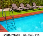 sunbeds on green grass and grab ... | Shutterstock . vector #1384530146