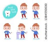 Kid Brushing Teeth Vector...