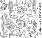 seamless pattern with marine... | Shutterstock .eps vector #1384556423