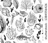 seamless pattern with marine... | Shutterstock .eps vector #1384556426