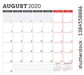 calendar planner for august... | Shutterstock .eps vector #1384558886