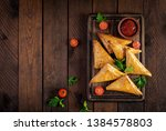 asian food. samsa  samosas ... | Shutterstock . vector #1384578803