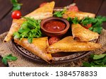 asian food. samsa  samosas ... | Shutterstock . vector #1384578833