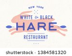 Stock vector hare rabbit vintage logo retro print poster for butchery meat shop with text hare typography 1384581320