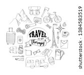 set of travel hand drawn concept | Shutterstock .eps vector #1384583519
