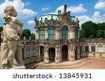 One of the statue above the Zwinger Museum in Dresden, Germany - stock photo