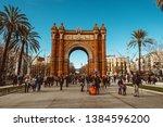 barcelona  spain   arch of...   Shutterstock . vector #1384596200