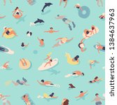 summer seamless pattern with... | Shutterstock . vector #1384637963