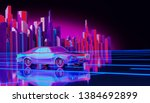 futuristic neon night city... | Shutterstock . vector #1384692899