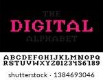 digital minimalistic pixel font ... | Shutterstock .eps vector #1384693046