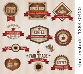 vintage retro coffee labels and ... | Shutterstock .eps vector #138470450