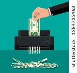 hand putting dollar banknote in ...   Shutterstock . vector #1384735463