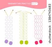handwriting practice sheet....   Shutterstock .eps vector #1384743683