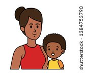 afro mother with little son...   Shutterstock .eps vector #1384753790