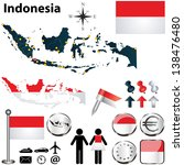 Vector of Indonesia set with detailed country shape with region borders, flags and icons