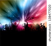 silhouette of a party crowd on... | Shutterstock .eps vector #138477020