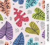 banana and monstera leaves hand ... | Shutterstock .eps vector #1384787726