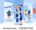 exhibition visitors viewing... | Shutterstock .eps vector #1384807280