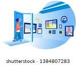 woman in her room wearing...   Shutterstock .eps vector #1384807283
