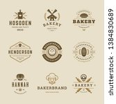 bakery goods logos and badges... | Shutterstock .eps vector #1384830689