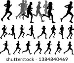 runners silhouettes collection  ... | Shutterstock .eps vector #1384840469