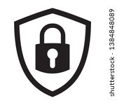 shield security with lock... | Shutterstock .eps vector #1384848089