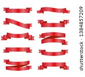 red ribbons set. vector design...   Shutterstock .eps vector #1384857209