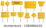 road yellow traffic signs set.... | Shutterstock .eps vector #1384886633