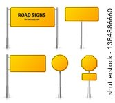 road yellow traffic signs set.... | Shutterstock .eps vector #1384886660