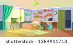 interior. boys room with table  ... | Shutterstock .eps vector #1384911713