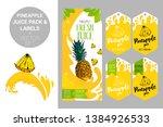 cartoon pineapple on juice... | Shutterstock .eps vector #1384926533