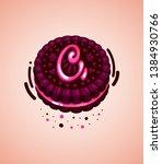 vector brown cookie and pink...   Shutterstock .eps vector #1384930766