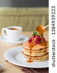 american pancakes with... | Shutterstock . vector #1384939223