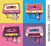 audio cassette on color... | Shutterstock .eps vector #138496544