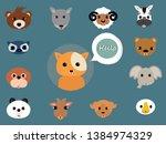animals cute baby cartoon cubs... | Shutterstock .eps vector #1384974329