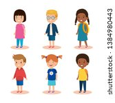 set girls and boys with... | Shutterstock .eps vector #1384980443