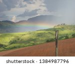Rural Scenery With Rainbow On A ...