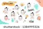 hand drawn girl take care... | Shutterstock .eps vector #1384995326