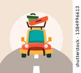 summer travel car vector... | Shutterstock .eps vector #1384996613