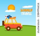summer travel car vector... | Shutterstock .eps vector #1384996616
