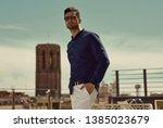 portrait of handsome man wear... | Shutterstock . vector #1385023679