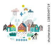 cute village on the background... | Shutterstock .eps vector #1385049719