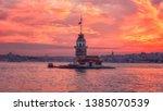 amazing sunset view of maiden's ... | Shutterstock . vector #1385070539