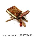 holy book of koran with rosary... | Shutterstock .eps vector #1385078456