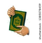 man hands holds holy book of...   Shutterstock .eps vector #1385078459