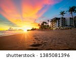 landscape and sunset with hotel ... | Shutterstock . vector #1385081396