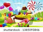 sweet candy world fairy... | Shutterstock .eps vector #1385093846
