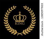 heraldic symbol crown in laurel ... | Shutterstock .eps vector #1385097833
